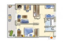 Apartment with large kitchen-cum-living room and 2 bedrooms for 4-5 people