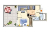 Spacious 1-room apartment with living area to accommodate 2-3 people