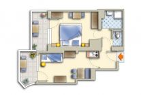 Apartment with separate living room for 2-3 people